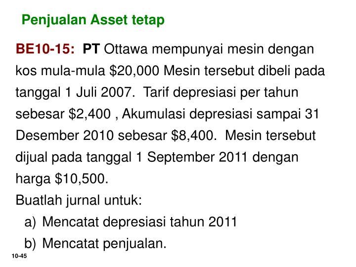 Penjualan Asset tetap