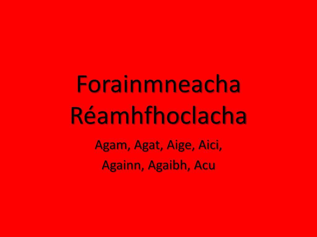 Forainmneacha R Amhfhoclacha N