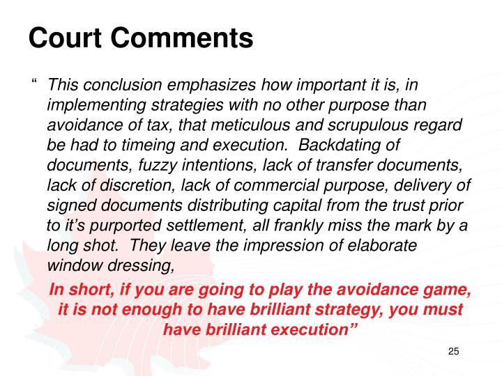 Court Comments