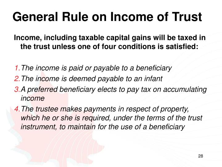 General Rule on Income of Trust
