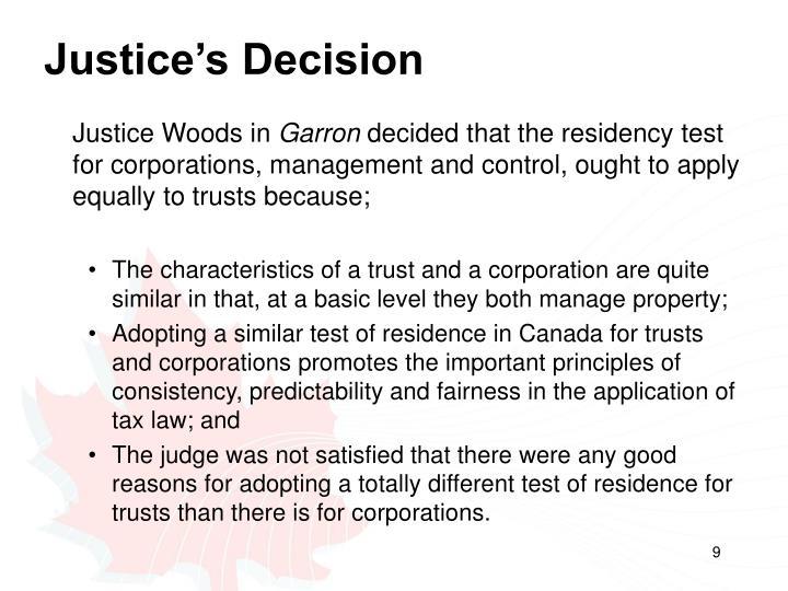 Justice's Decision
