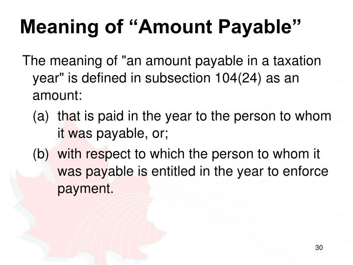 """Meaning of """"Amount Payable"""""""