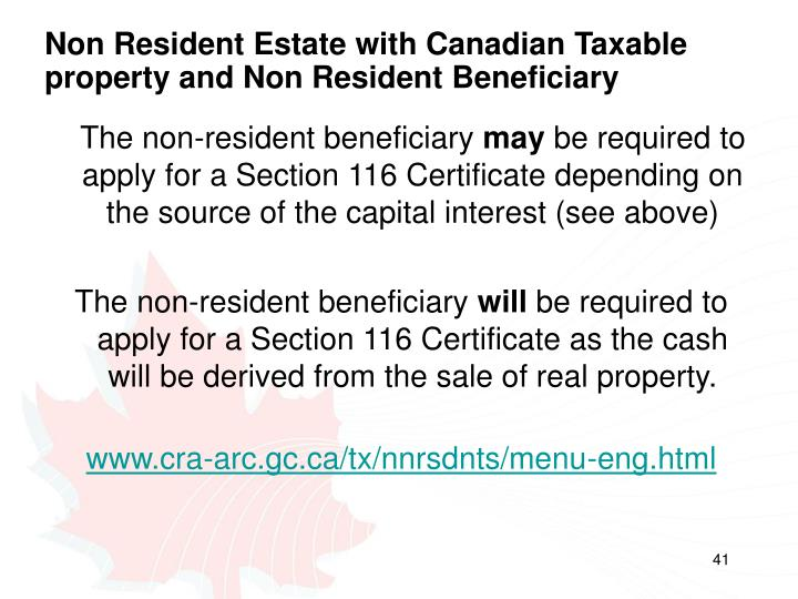 Non Resident Estate with Canadian Taxable property and Non Resident Beneficiary
