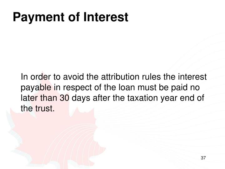 Payment of Interest
