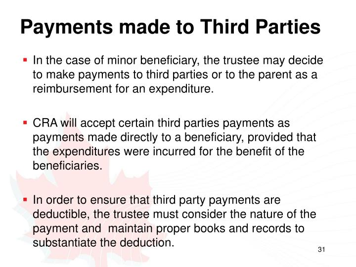 Payments made to Third Parties