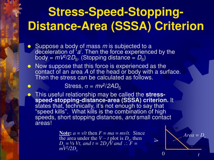 Stress-Speed-Stopping-Distance-Area (SSSA) Criterion