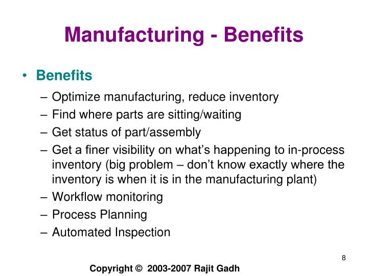 Manufacturing - Benefits