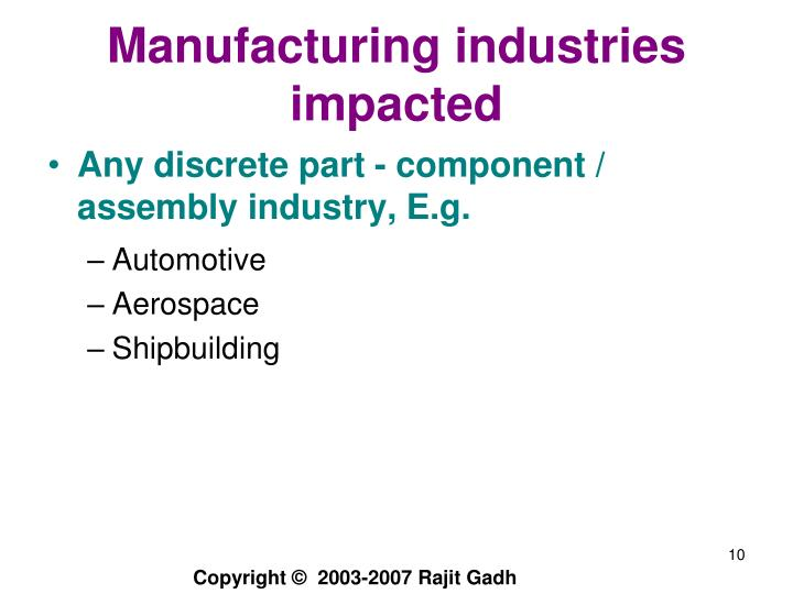 Manufacturing industries impacted