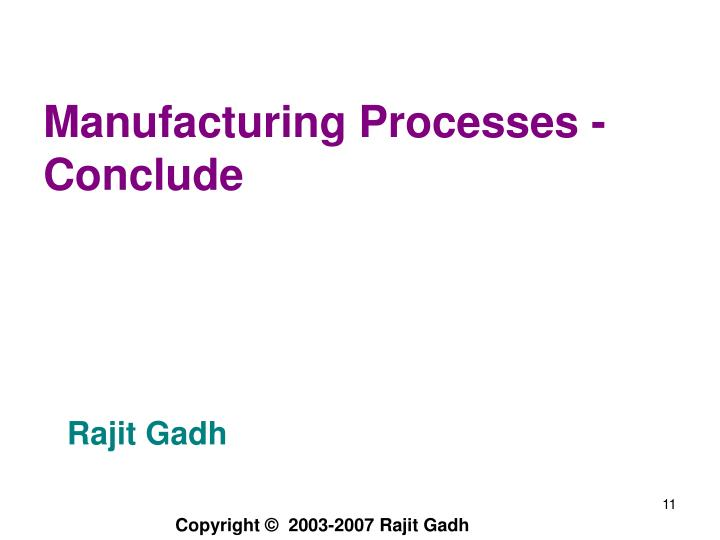 Manufacturing Processes -