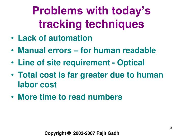 Problems with today s tracking techniques