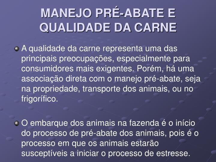 MANEJO PRÉ-ABATE E