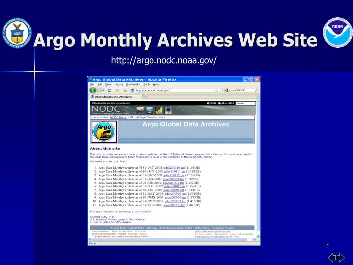 Argo Monthly Archives Web Site