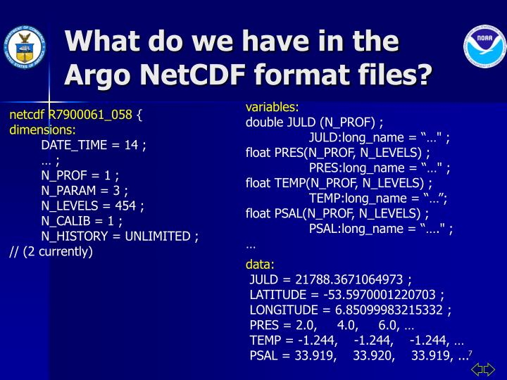 What do we have in the Argo NetCDF format files?