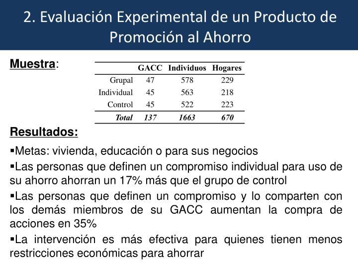 2. Evaluación Experimental de un Producto de Promoción al Ahorro