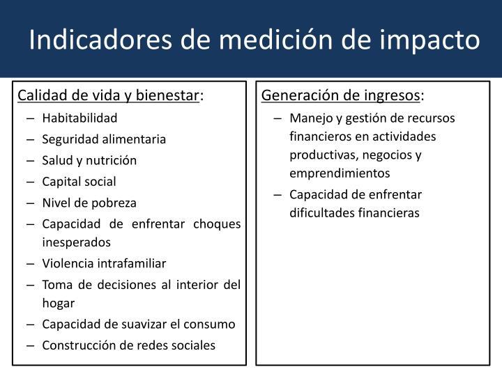 Indicadores de medición de impacto