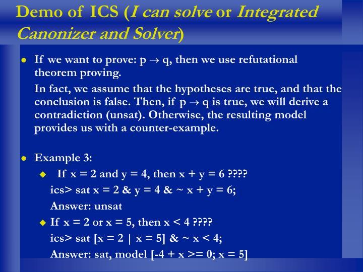 Demo of ICS (