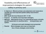 feasibility and effectiveness of improvement strategies for patient safety in primary care