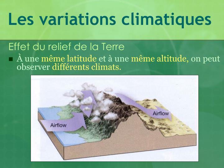 Les variations climatiques