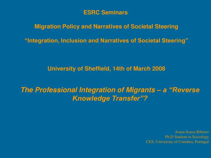 the professional integration of migrants a reverse knowledge transfer n.