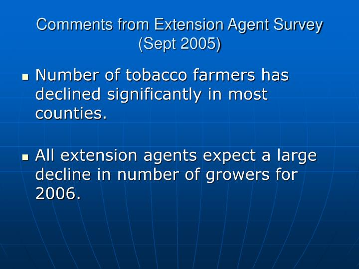 Comments from Extension Agent Survey