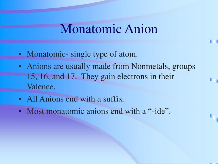 Monatomic Anion