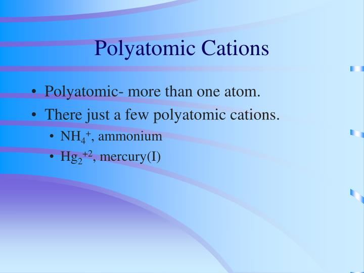 Polyatomic Cations