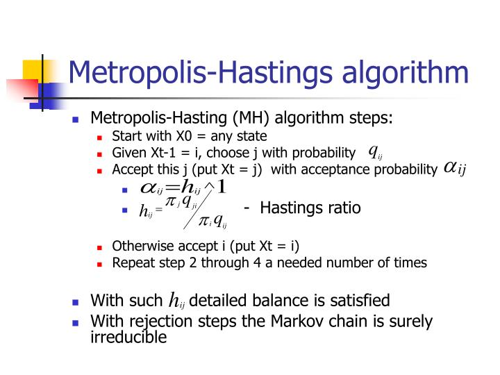 metropolis hastings algorithms In an earlier post we discussed how the metropolis sampling algorithm can draw samples from a complex and/or unnormalized target probability distributions using a markov chain.