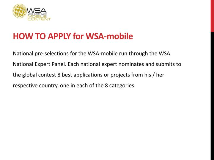 HOW TO APPLY for WSA-mobile