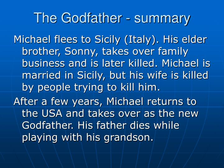 the godfather a summary and review Lunchtime movie review on the mhm podcast network reviews 1990's the godfather: part iii starring al pacino, diane keaton, and andy garcia.