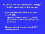 valgan use in maintenance therapy studies and analyses conducted