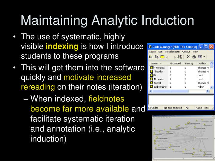 Maintaining Analytic Induction