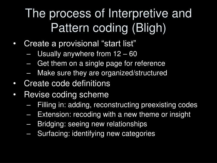 The process of Interpretive and Pattern coding (Bligh)