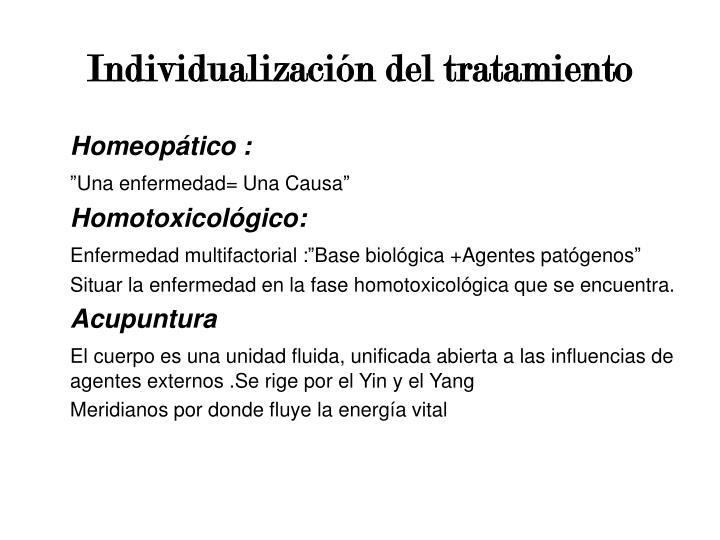 Individualización del tratamiento
