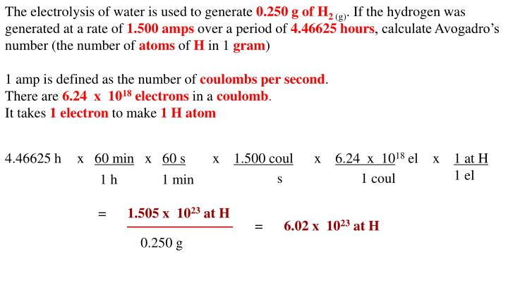 The electrolysis of water is used to generate