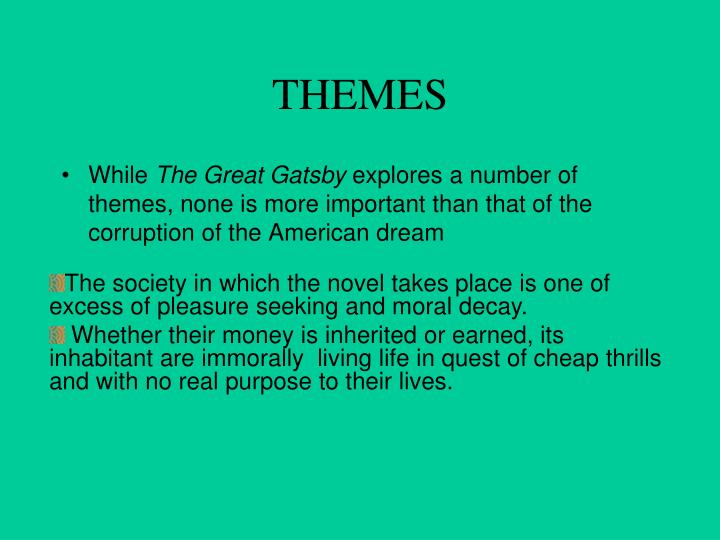 an analysis of materialism in the great gatsby by f scott fitzgerald Summary: in f scott fitzgerald's the great gatsby, daisy buchanan chooses to live a safe and secure life with tom instead of with her true love, jay gatsbyin the end, this greed corrupts tom and daisy's souls.