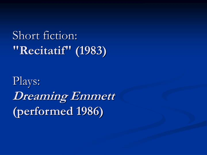 Short fiction: