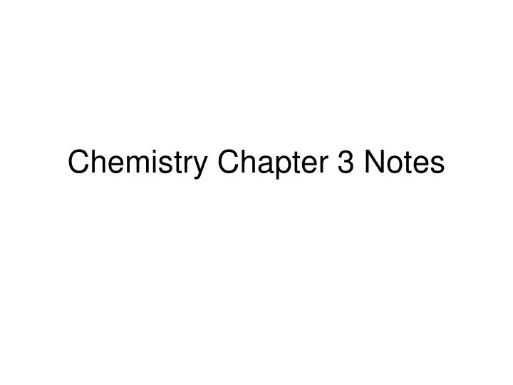 chemistry chapter 3 notes n.