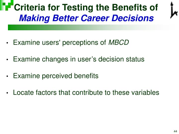Criteria for Testing the Benefits of