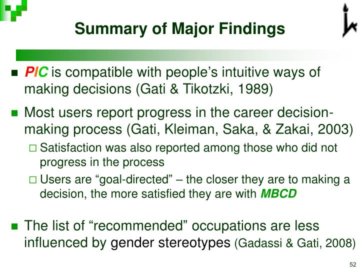 Summary of Major Findings