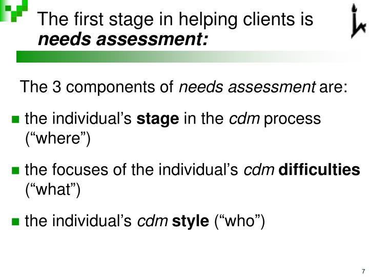 The first stage in helping clients is