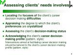 assessing clients needs involves