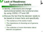 lack of readiness dysfunctional beliefs