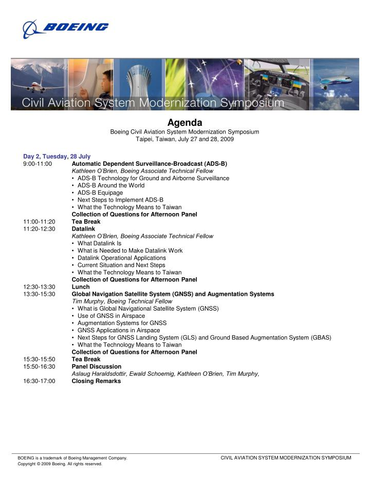 Agenda boeing civil aviation system modernization symposium taipei taiwan july 27 and 28 20091