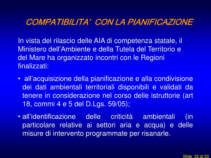 COMPATIBILITA'  CON LA PIANIFICAZIONE