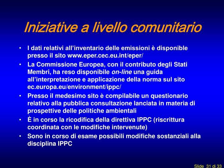 Iniziative a livello comunitario