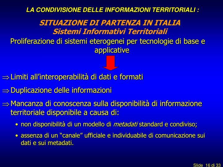 LA CONDIVISIONE DELLE INFORMAZIONI TERRITORIALI :