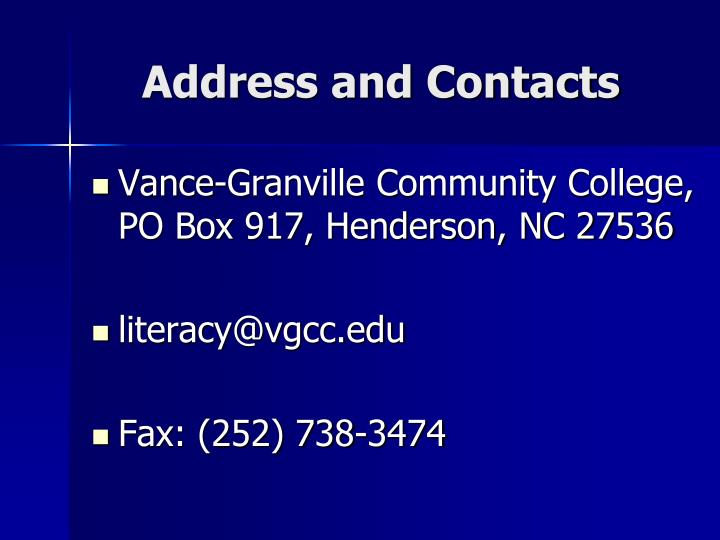 Address and Contacts
