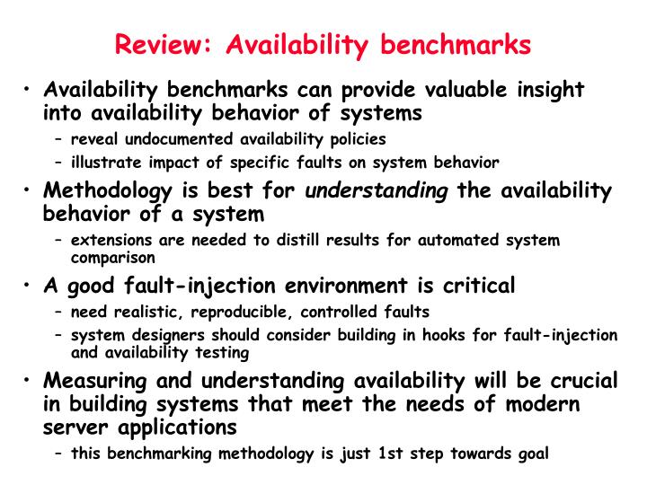 Review: Availability benchmarks