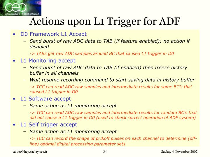 Actions upon L1 Trigger for ADF