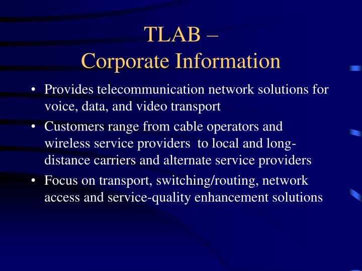 Tlab corporate information